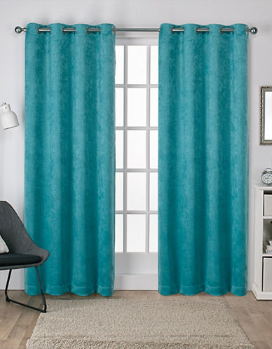 Home Outfitters Set of Two Twill Woven Curtain Panels-TEAL-84 inches