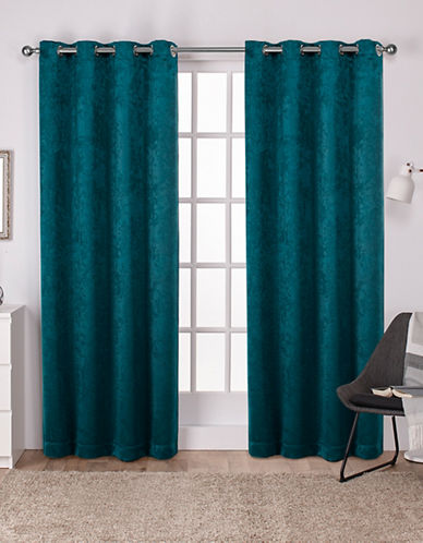 Home Outfitters Set of Two Twill Woven Curtain Panels-BLUE-108 inches