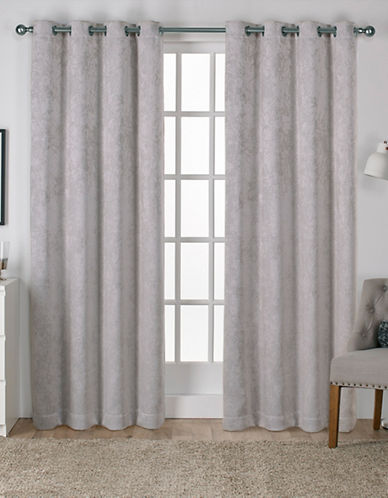 Home Outfitters Set of Two Twill Woven Curtain Panels-SILVER-84 inches