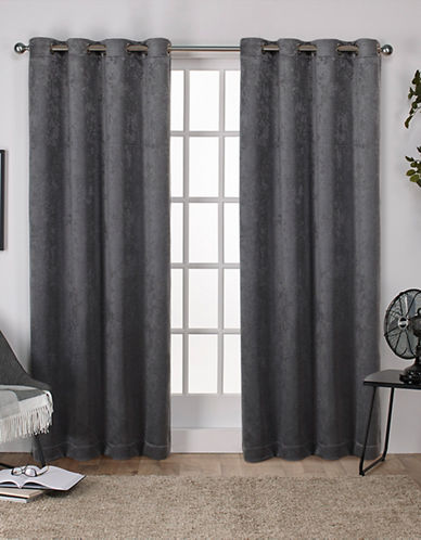 Home Outfitters Set of Two Twill Woven Curtain Panels-BLACK PEARL-84 inches