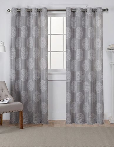Home Outfitters Set of Two Medallion Jacquard Curtain Panels-ASH GREY-96 inches