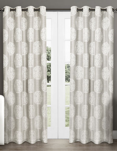 Home Outfitters Set of Two Medallion Jacquard Curtain Panels-DOVE GREY-108 inches