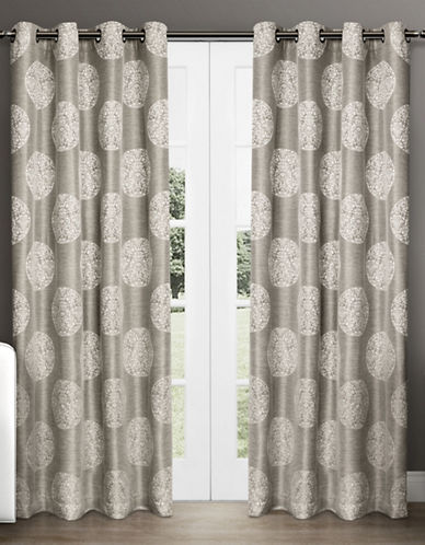 Home Outfitters Set of Two Medallion Jacquard Curtain Panels-NATURAL-108 inches