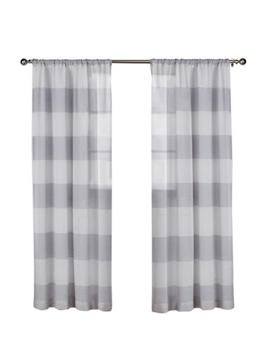 Home Outfitters Set of Two 96In Exclusive Home Darma Rod Pocket Curtain Panels-DOVE GREY-84 inches