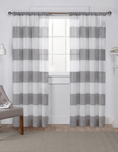 Home Outfitters Set of Two 96In Exclusive Home Darma Rod Pocket Curtain Panels-BLACK PEARL-96 inches
