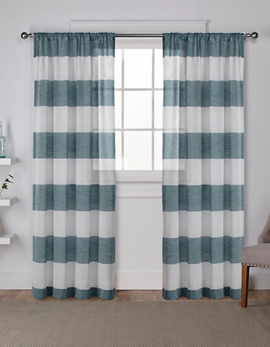 Home Outfitters Set of Two 96In Exclusive Home Darma Rod Pocket Curtain Panels-TEAL-96 inches