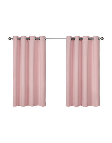 Home Outfitters Set of Two Twill Weave Curtain Panels-BLUSH-63 inches