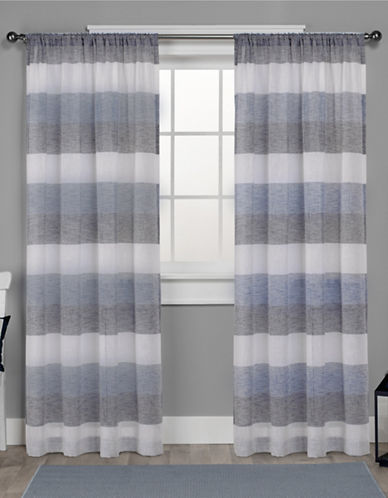 Home Outfitters Bern Rod Pocket Window Curtain Panel Pair-INDIGO-84 inches
