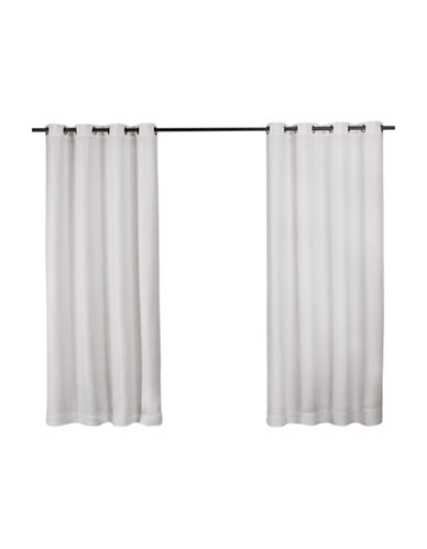 Home Outfitters Set of Two Heavy Textured Curtain Panels-WHITE-84 inches
