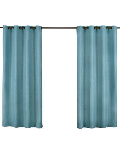 Home Outfitters Set of Two Heavy Textured Curtain Panels-TEAL-108 inches