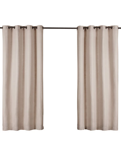 Home Outfitters Set of Two Heavy Textured Curtain Panels-TAUPE-84 inches