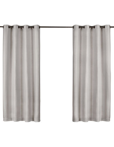 Home Outfitters Set of Two Heavy Textured Curtain Panels-SILVER-84 inches
