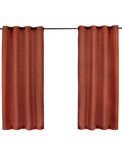 Home Outfitters Set of Two Heavy Textured Curtain Panels-MECCA ORANGE-84 inches
