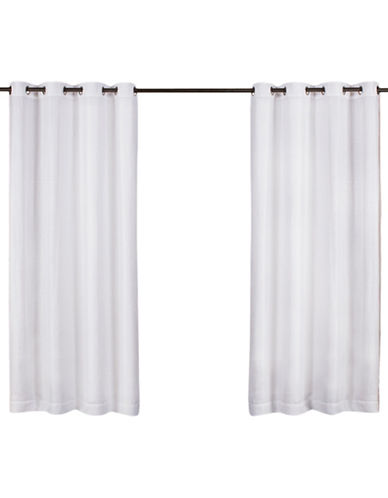 Home Outfitters Miami Sheer Indoor/Outdoor Curtain Panel Pair-WHITE-96 inches