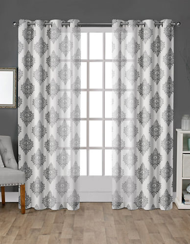 Home Outfitters Set of Two Medallion Curtain Panels-WHITE-96 inches