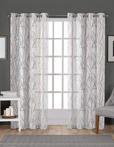 Home Outfitters Set of Two Burnout Sheer Curtain Panels-WHITE-96 inches