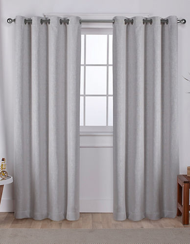 Home Outfitters Set of Two Vesta Curtain Panels-SILVER-96 inches