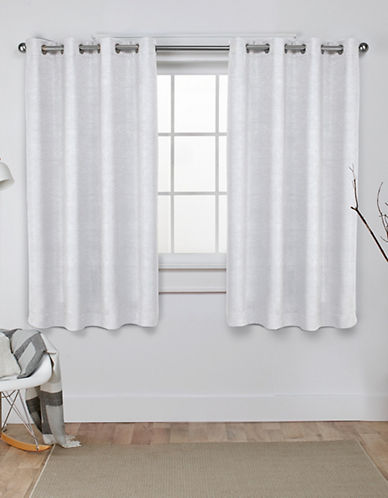 Home Outfitters Set of Two Textured Sateen Curtain Panels-VANILLA-108 inches