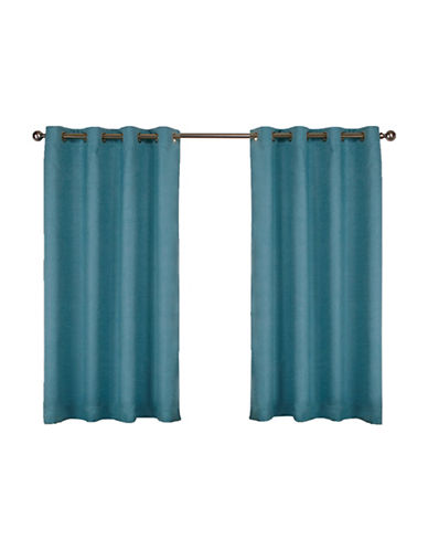 Home Outfitters Set of Two Textured Sateen Curtain Panels-TEAL-84 inches