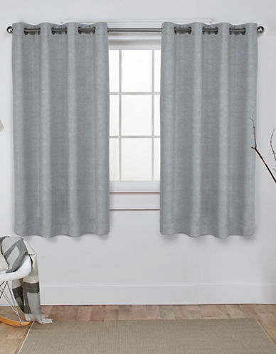 Home Outfitters Set of Two Textured Sateen Curtain Panels-SILVER-84 inches