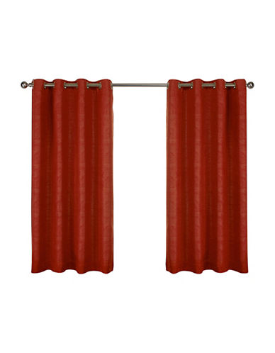 Home Outfitters Set of Two Textured Sateen Curtain Panels-MECCA ORANGE-96 inches