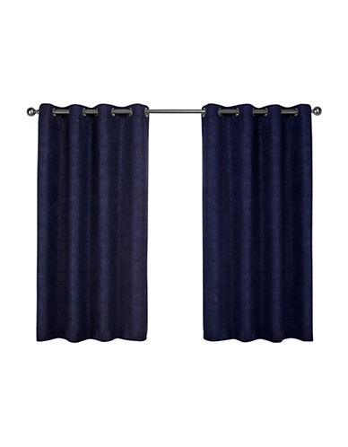 Home Outfitters Set of Two Textured Sateen Curtain Panels-NAVY-84 inches