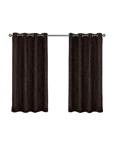 Home Outfitters Set of Two Textured Sateen Curtain Panels-ESPRESSO-108 inches