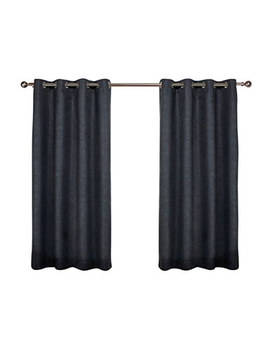 Home Outfitters Set of Two Textured Sateen Curtain Panels-CHARCOAL-84 inches