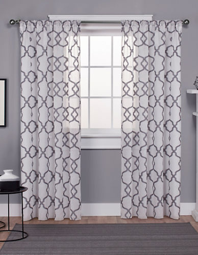 Home Outfitters Oxford Textured Sateen Panel Pair-SILVER-84 inches