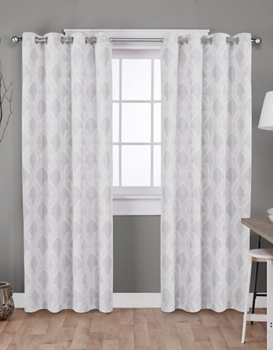 Home Outfitters Dorado Jacquard Curtain Panel Pair-DOVE GREY-108 inches