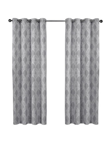 Home Outfitters Dorado Jacquard Curtain Panel Pair-ASH GREY-108 inches