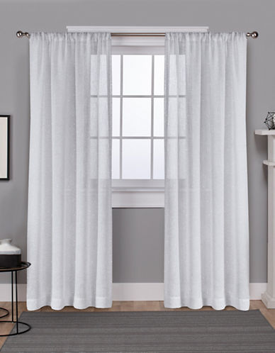 Home Outfitters Foil Belgian Metallic Curtain Panel Pair-WHITE-96 inches