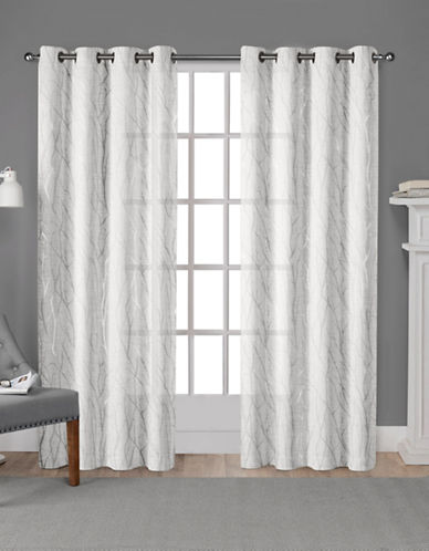 Home Outfitters Exclusive Sheer Curtain Panel Pair-SILVER-108 inches