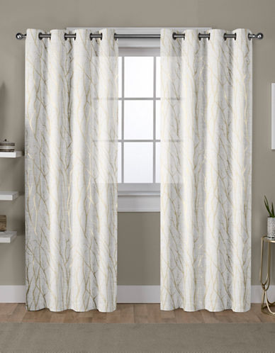 Home Outfitters Exclusive Sheer Curtain Panel Pair-GOLD-96 inches