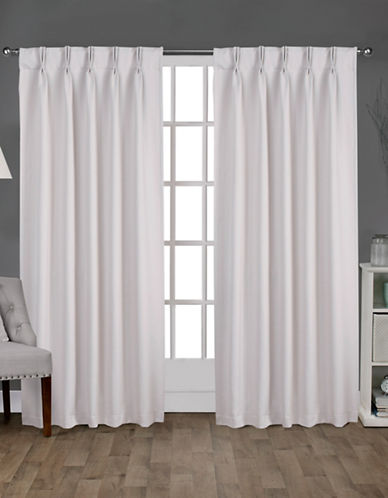 Home Outfitters Exclusive Sateen Pinch Curtain Panel Pair-VANILLA-108 inches