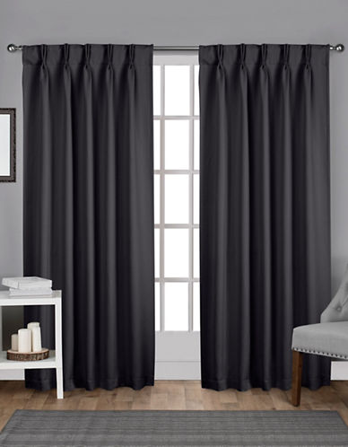 Home Outfitters Exclusive Sateen Pinch Curtain Panel Pair-CHARCOAL-84 inches