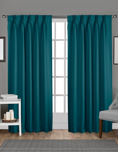 Home Outfitters Exclusive Sateen Pinch Curtain Panel Pair-TEAL-108 inches