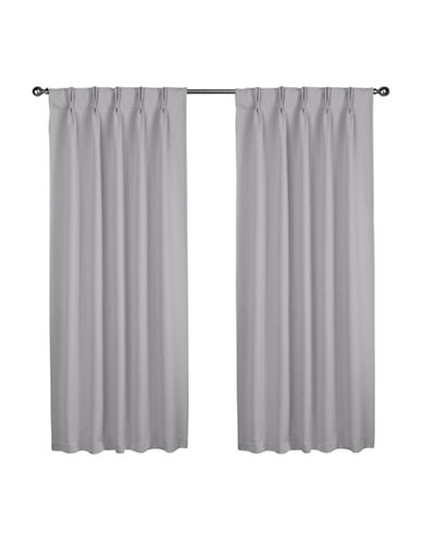 Home Outfitters Exclusive Sateen Pinch Curtain Panel Pair-SILVER-84 inches