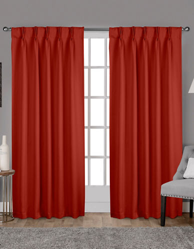 Home Outfitters Exclusive Sateen Pinch Curtain Panel Pair-ORANGE-108 inches