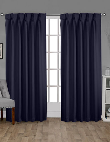 Home Outfitters Exclusive Sateen Pinch Curtain Panel Pair-BLUE-108 inches