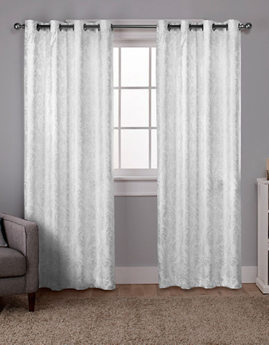 Home Outfitters Thermal Window Curtain Panel Pair-WHITE/SILVER-84 inches