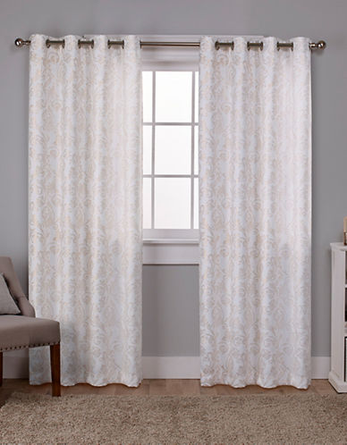 Home Outfitters Thermal Window Curtain Panel Pair-WHITE/GOLD-84 inches
