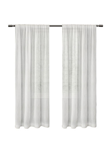 Distinctly Home Textured Perth Sheer Rod Pocket Drape Panel-WHITE-96 inches