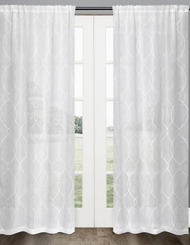 Glucksteinhome Florence Embroidered Sheer Drape-WHITE-84 inches