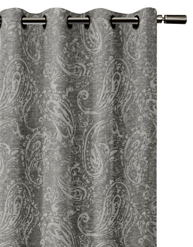 Glucksteinhome Roma Woven Paisley Blackout Drape-GREY-84 inches
