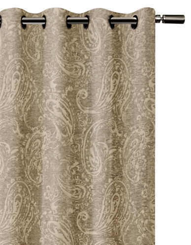 Glucksteinhome Roma Woven Paisley Blackout Drape-OFF WHITE-84 inches
