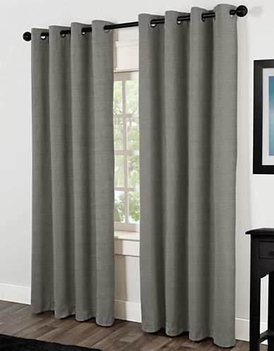 Home Studio Raw Silk 84in Thermal Grommet Panel-VIRIDIAN GREY-84 inches