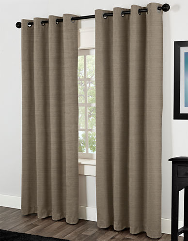 Home Studio Raw Silk 84in Thermal Grommet Panel-NATURAL-84 inches