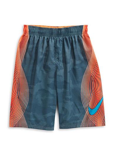 Nike Printed Volley Shorts-TART ORANGE-Small