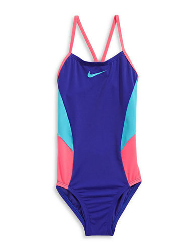 Nike Colour Surge One-Piece V-Back Swimsuit-BLUE-8